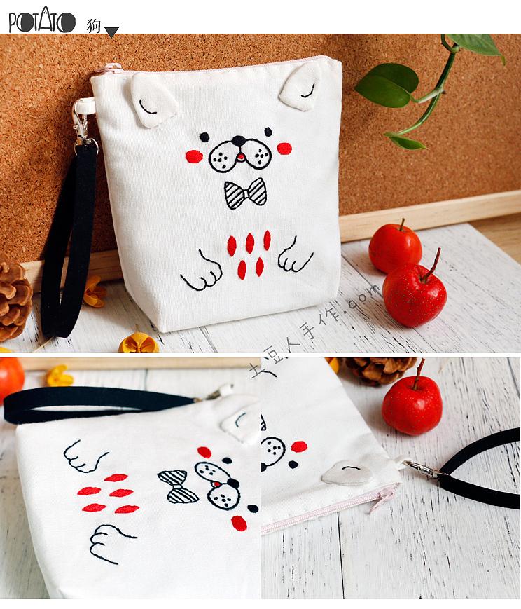 简约线条动物系列刺绣包包图片