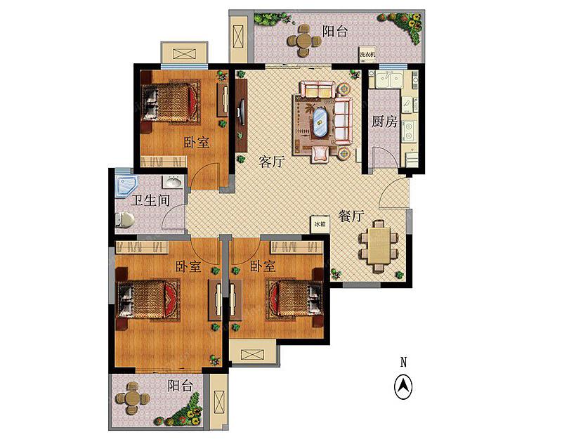 省委党校家属院装修效果图120平三室两厅北欧风格设计