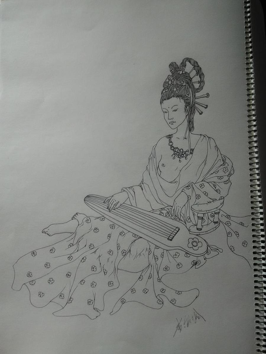 古装美女线描|其他艺创|纯艺术|上古卷轴