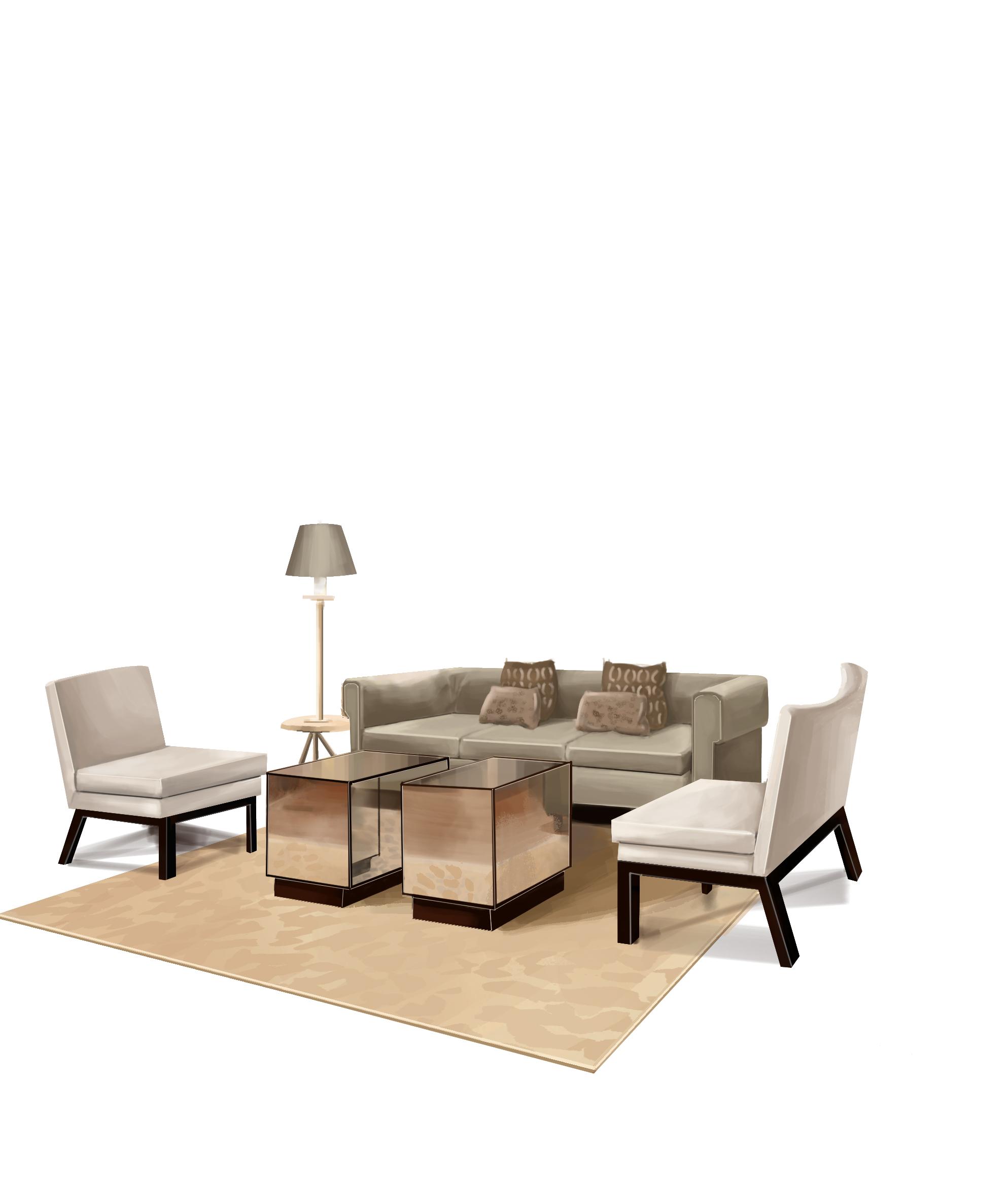 电脑手绘(沙发组合效果图上色过程)|空间|室内设计|a
