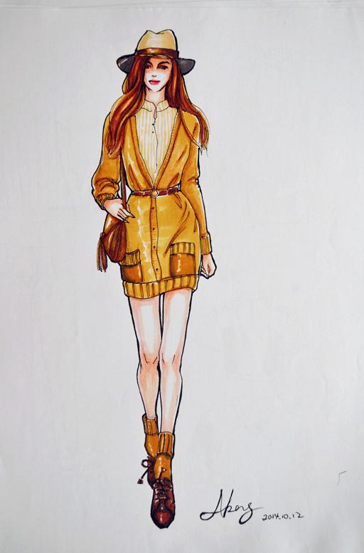 服装效果图手绘|绘画习作|插画|