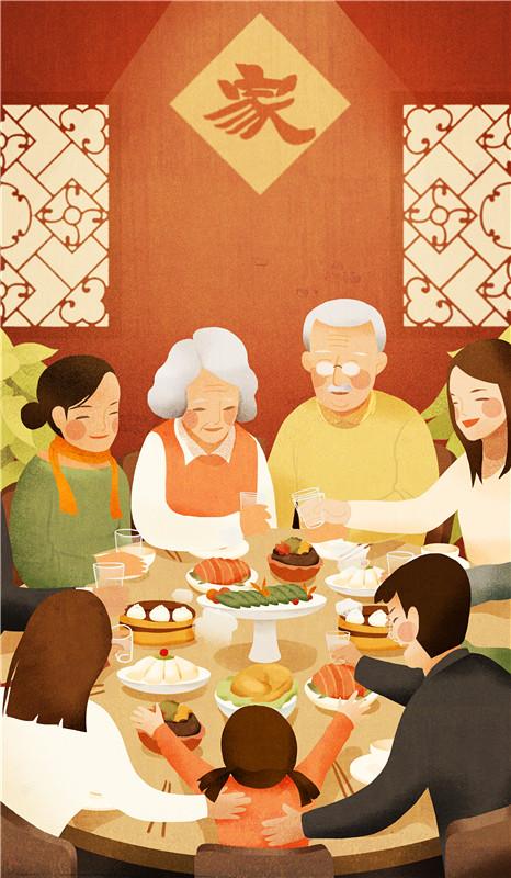 团年饭 图片