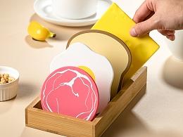 电商产品拍摄  简约可爱硅胶拟形餐垫煎蛋培根芝士面包