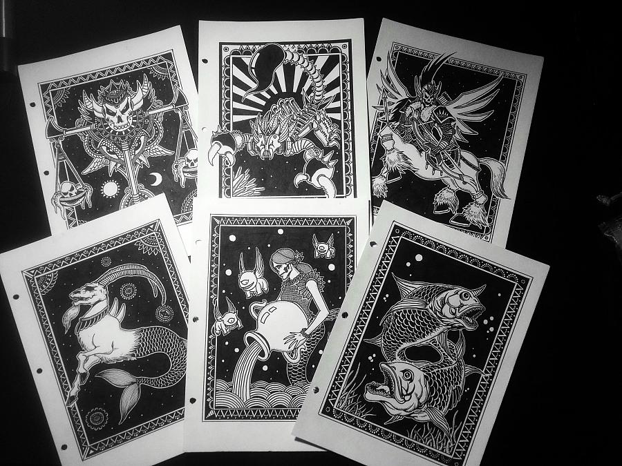 黑白纯手绘—暗黑星座系列 附绘制过程