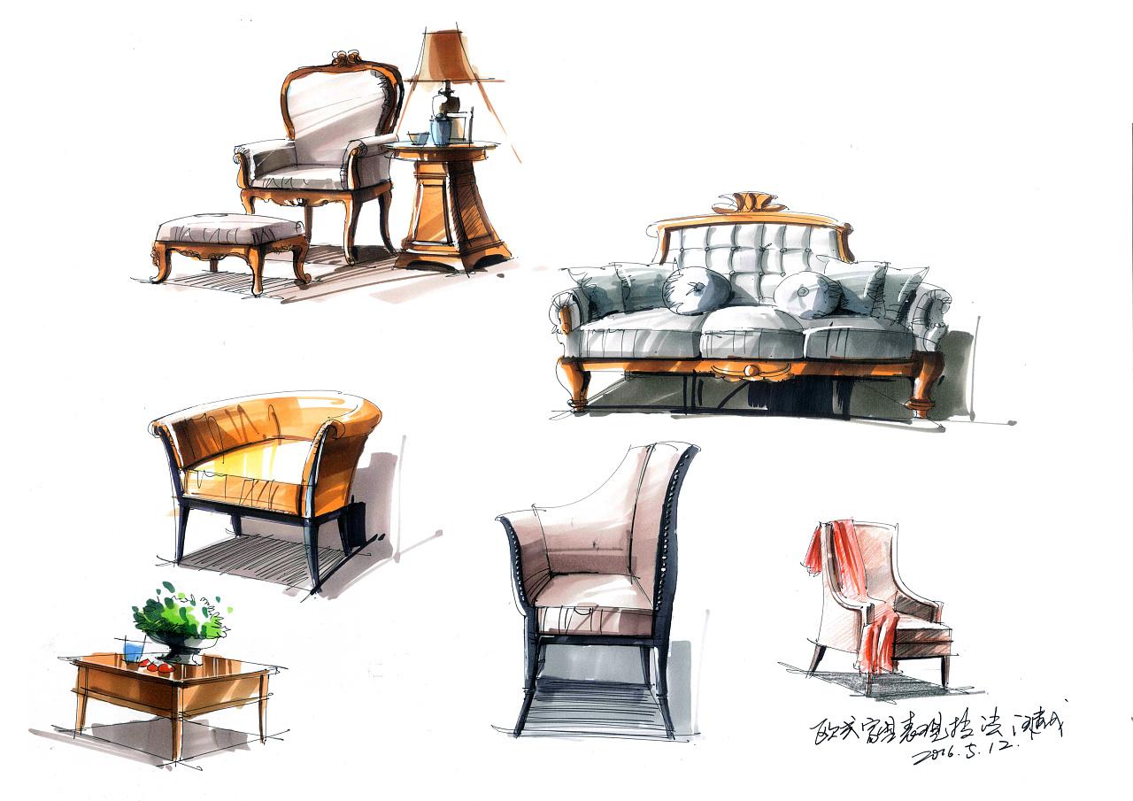 室内家具设计手绘效果图