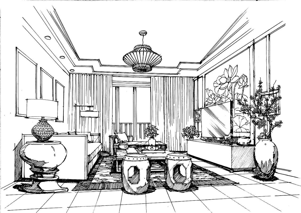 室内手绘效果图|空间|室内设计|调色板22 - 原创作品