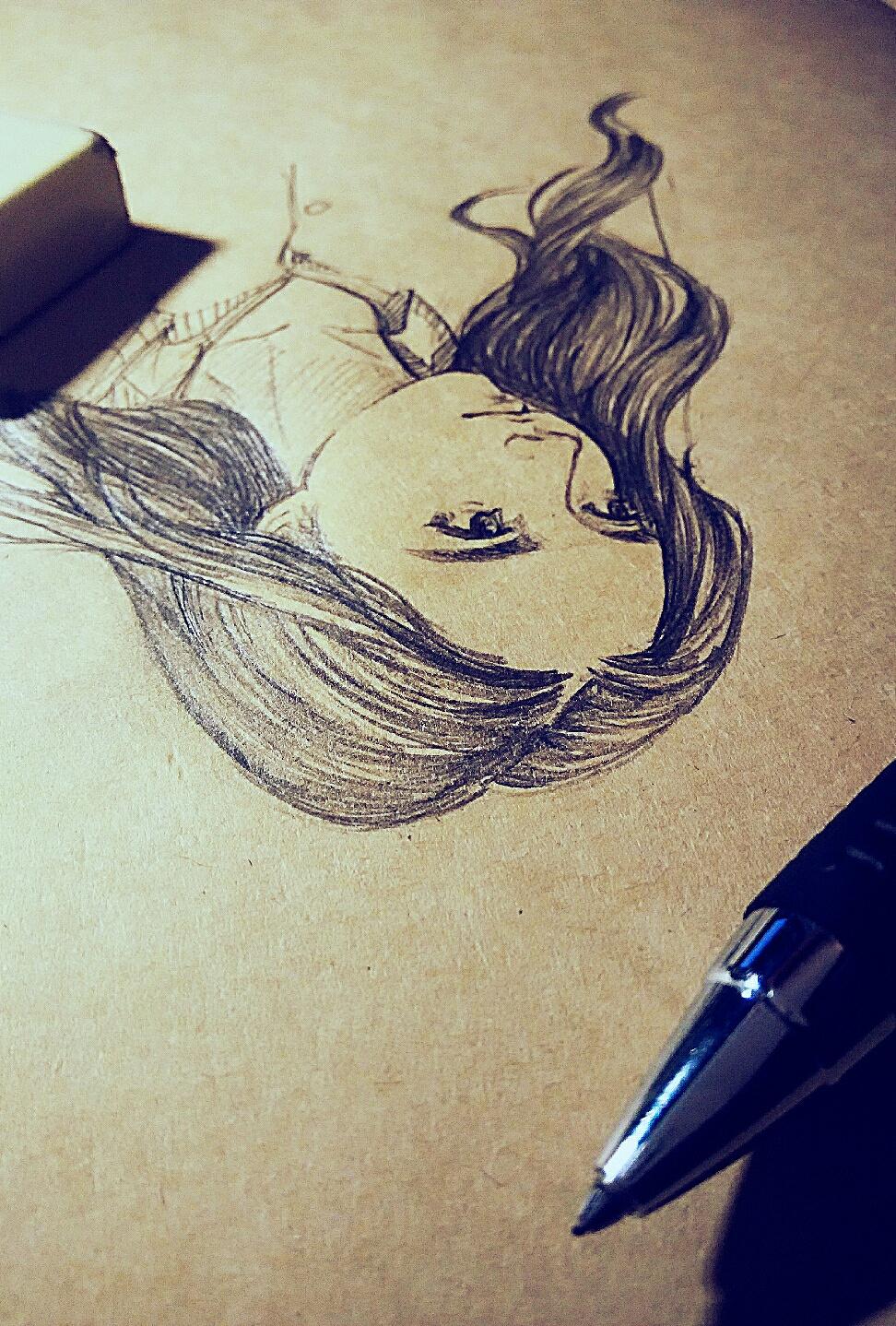 铅笔手绘 插画 商业插画 喝牛奶醉了 - 原创作品