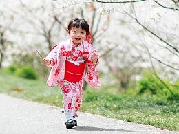 樱花与和服少女