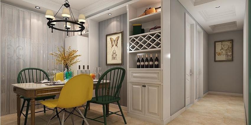 泰宏建业国际城三室两厅130平现代美式风格装修案例图片