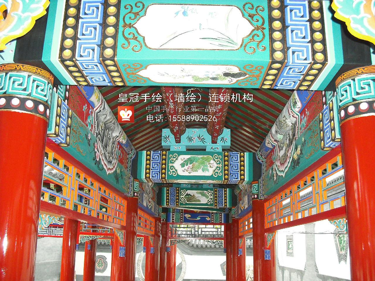 古建筑彩绘 插画 其他插画 临沂皇冠手绘 - 原创作品