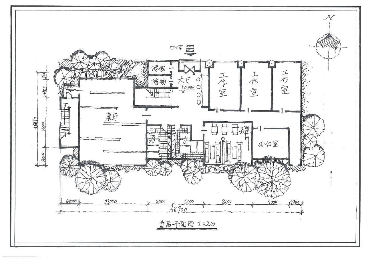 手绘建筑平面图效果图