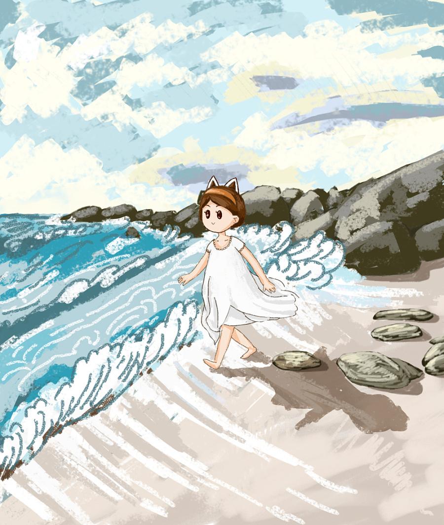 原创手绘【海边】