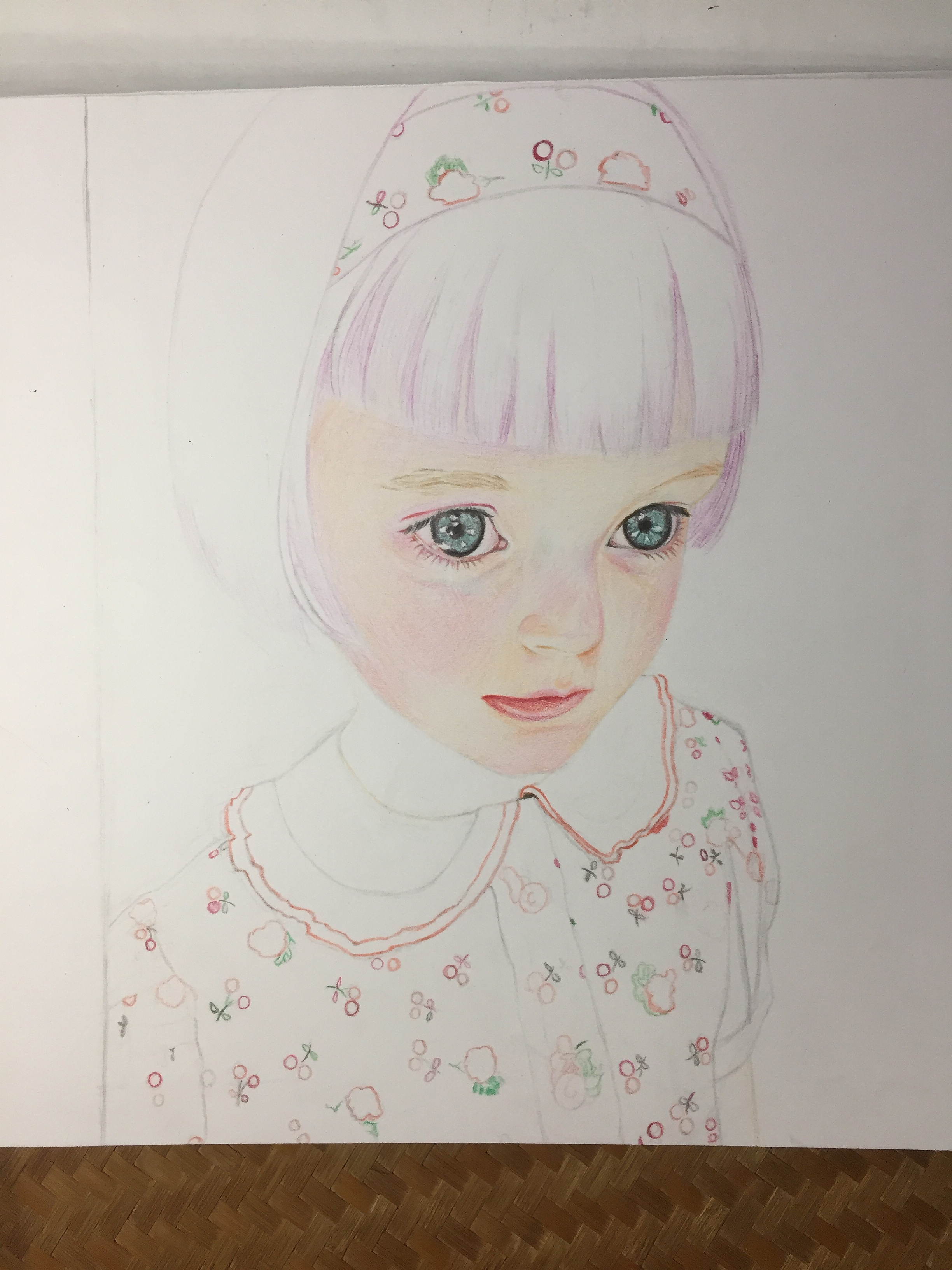 彩铅——大眼睛女孩 纯艺术 彩铅 经常犯傻的猪兔子