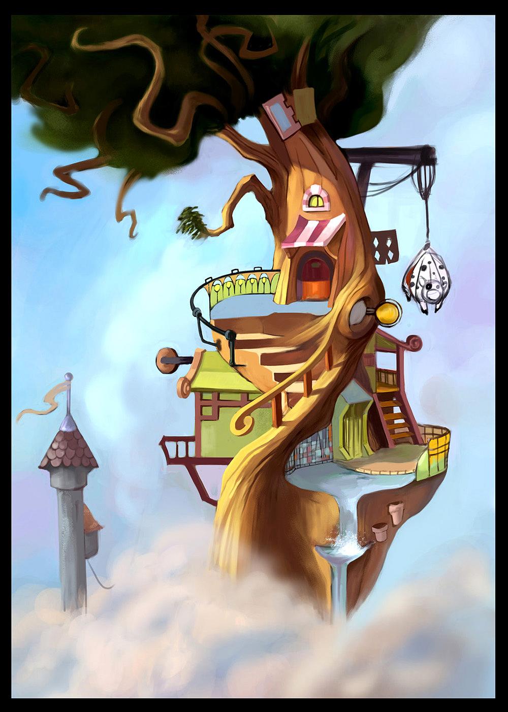 树上的房子图片