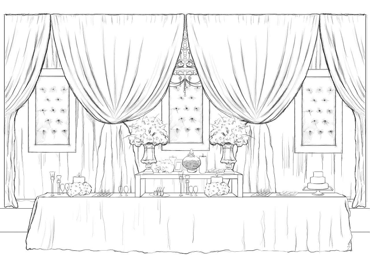 婚礼手绘稿