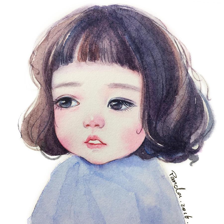 【小熊猫】水彩手绘人物水彩教程小萝莉头像