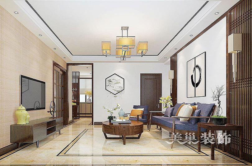 铁道京广家园115平三室两厅新中式装修案例