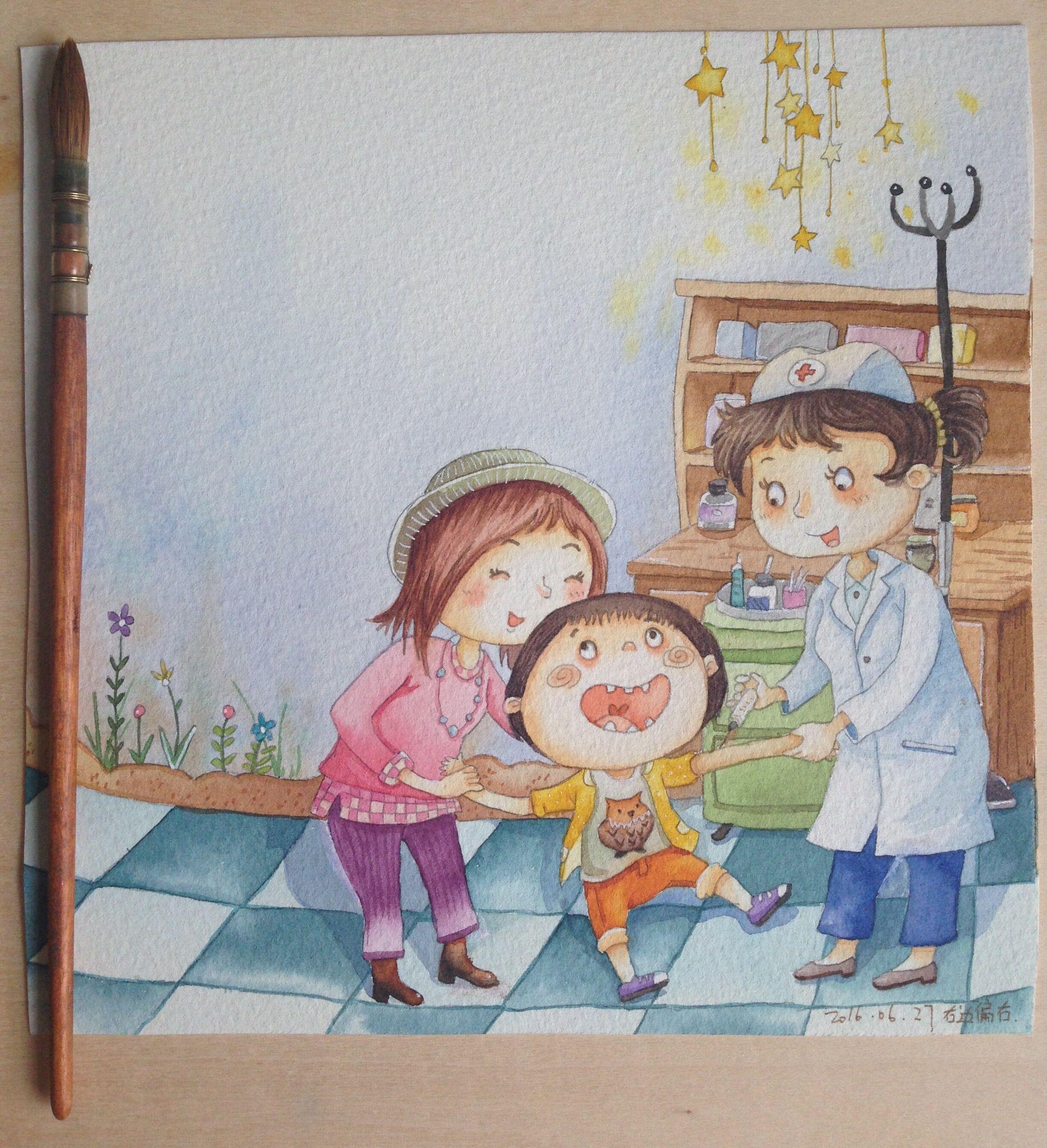 手绘水彩儿童插画,