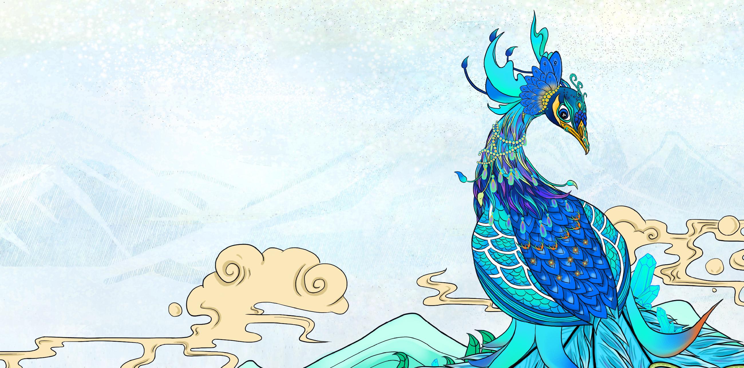 孔雀手绘卡通图片