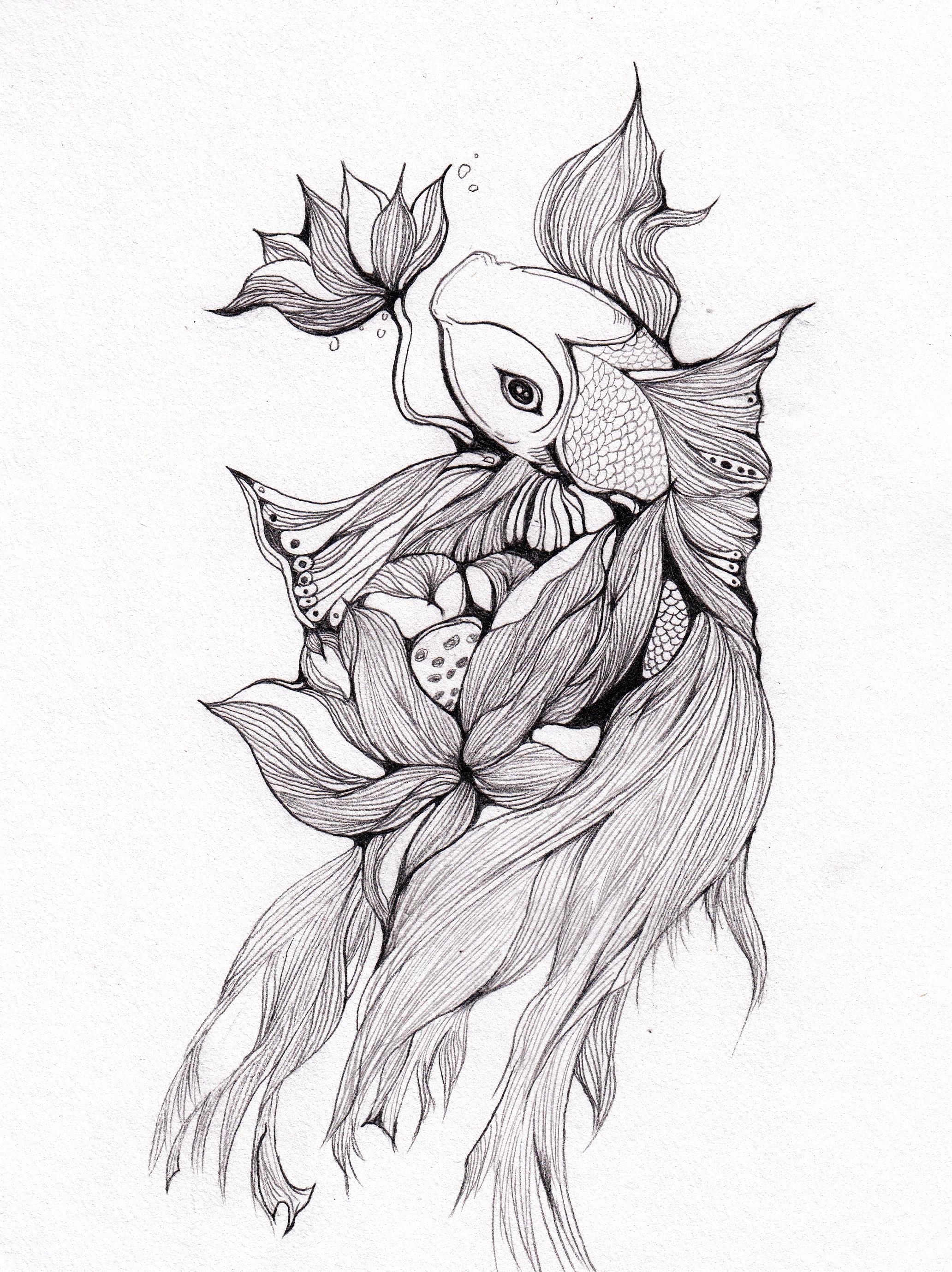 手绘素描小金鱼