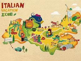 五谷地手绘地图插画