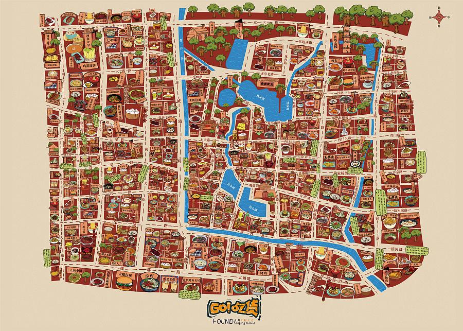 开封美食手绘地图|商业插画|插画|denghuanhuan5