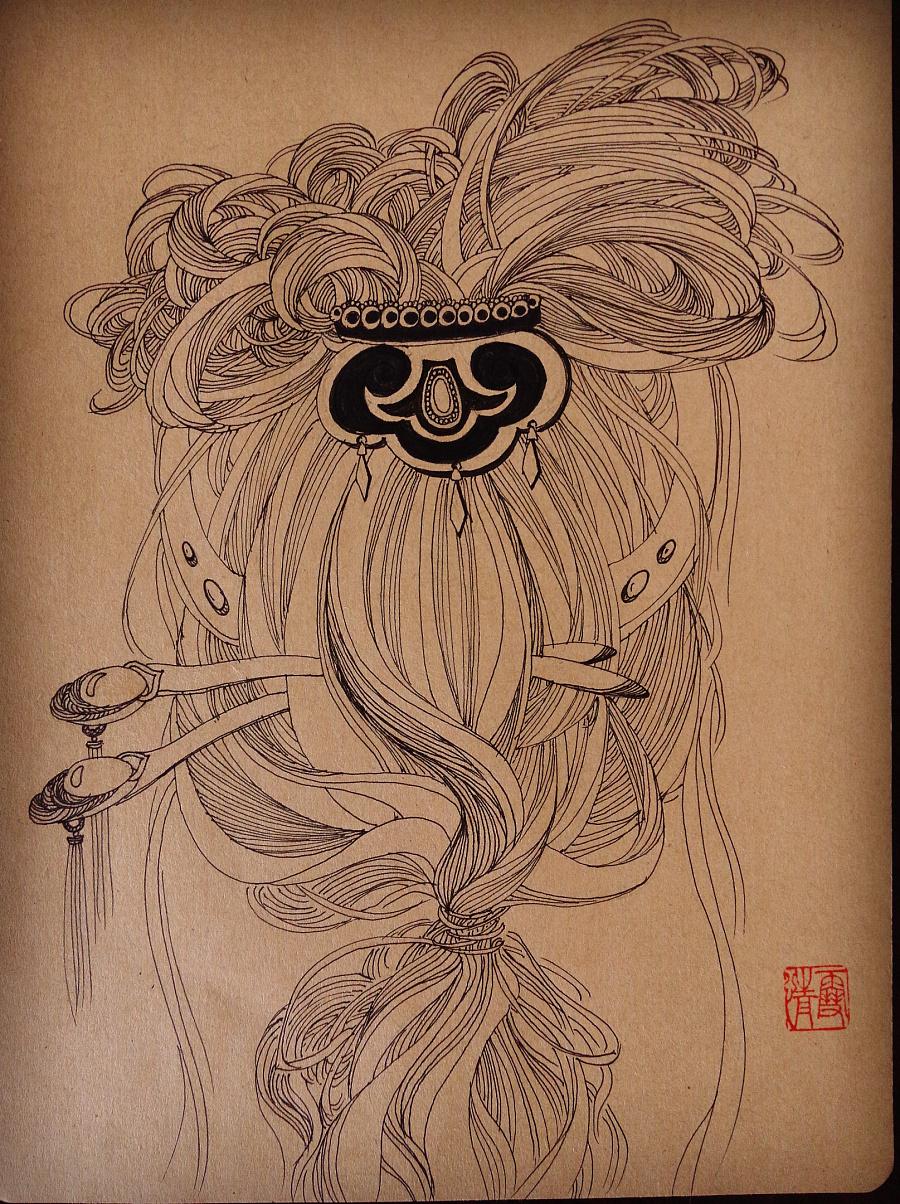 线描手绘之 《姬》系列 共五幅图片