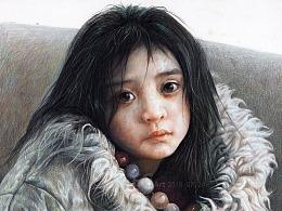 彩铅画-《微风掠过发梢》
