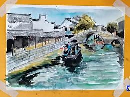 水彩画小船泛游江南古镇-小尤说画