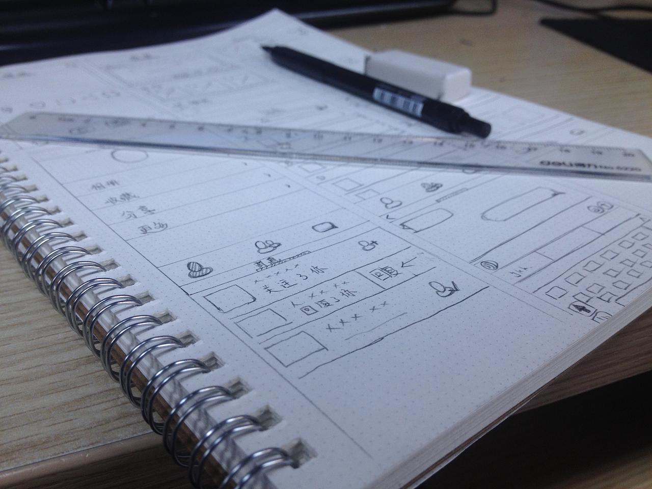 手绘线稿原型图