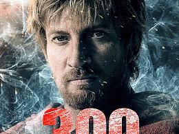 斯巴达300勇士电影海报设计