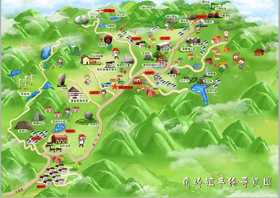 南岭镇.定制筷子地图旅游景区手绘设计设计地图环保图片