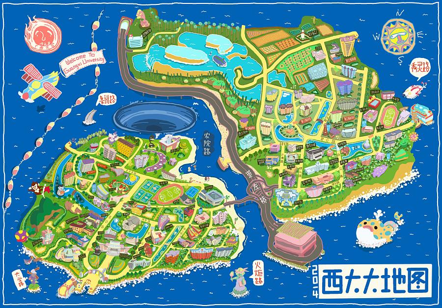 广西大学手绘大地图 |商业插画|插画|雨湿林