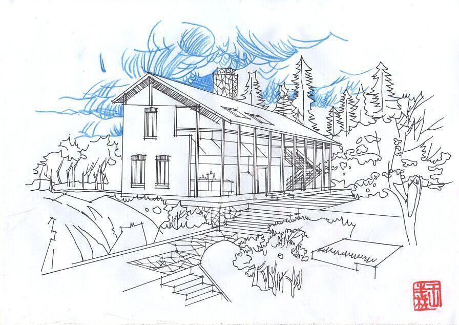 手绘房子外观上色