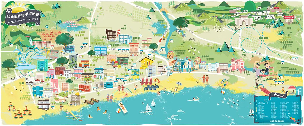 深圳较片尾场民宿手绘地图