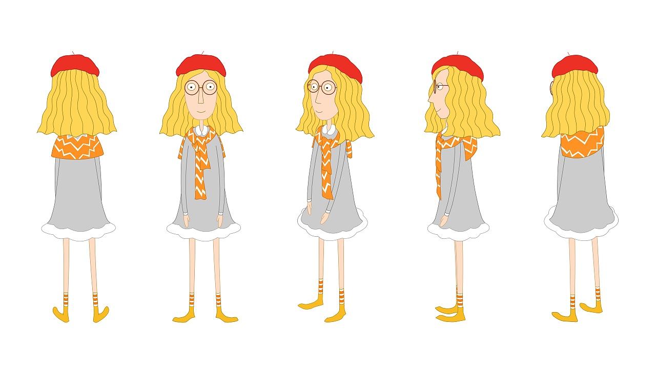 这是根据一部原创二维动画短片的故事情节而展开的角色设计图片