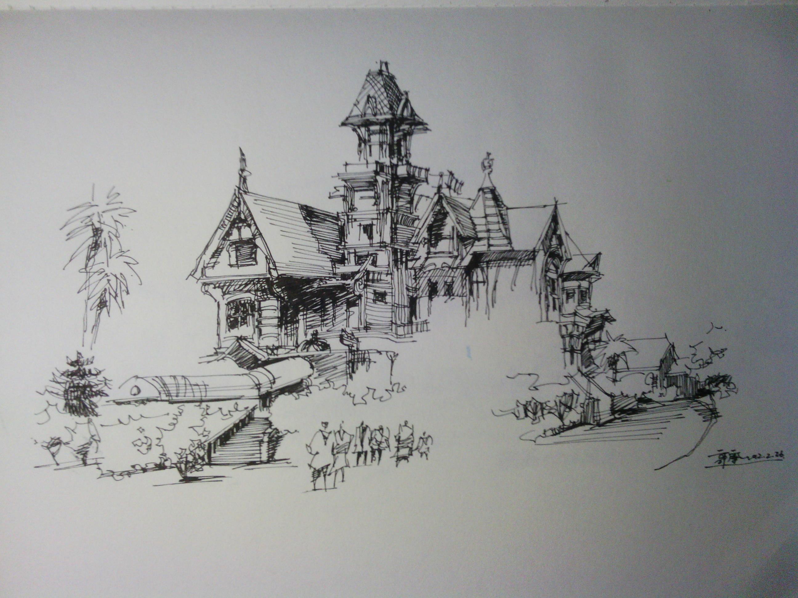西方著名建筑钢笔手绘