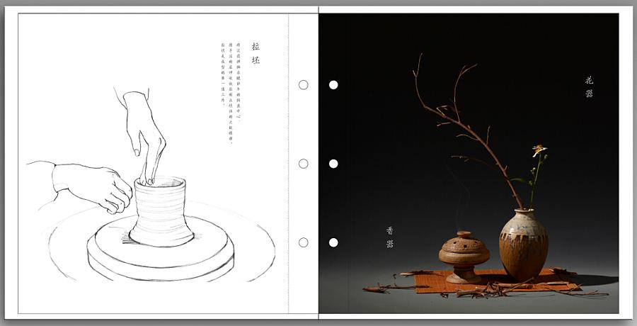 手绘陶瓷制作流程线描插图,插画