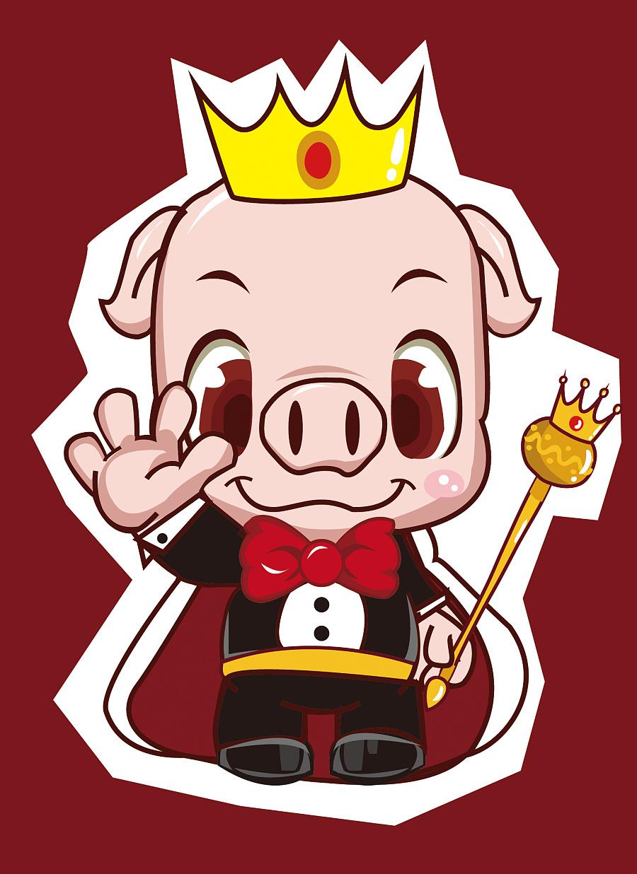 原创作品:猪皇子卡通形象设计(初稿阶段)|概念设定图片