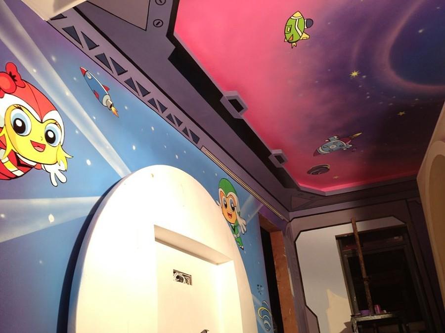 儿童主题酒店墙画,酒店墙画壁画,室内手绘墙画