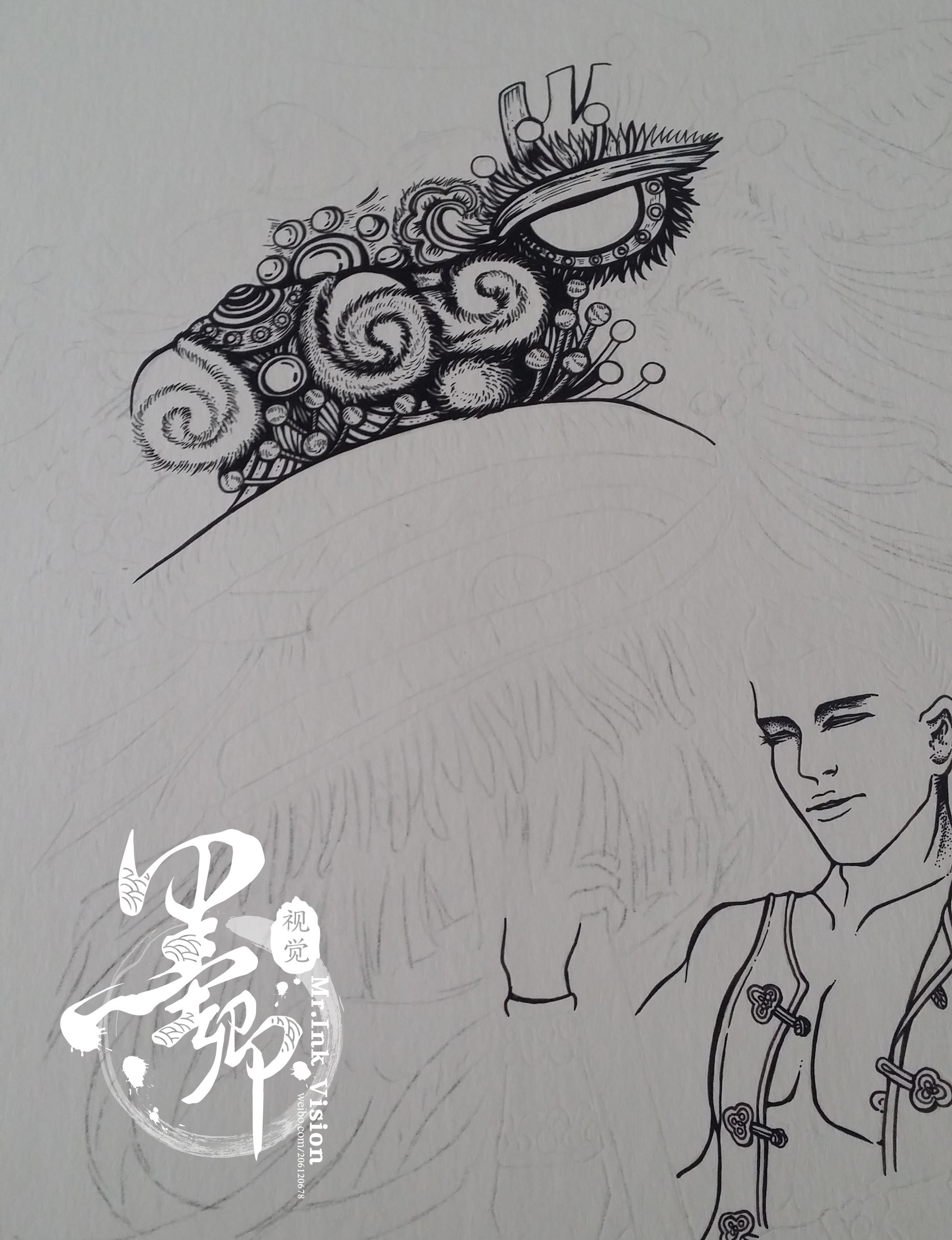 舞狮简笔画手绘图
