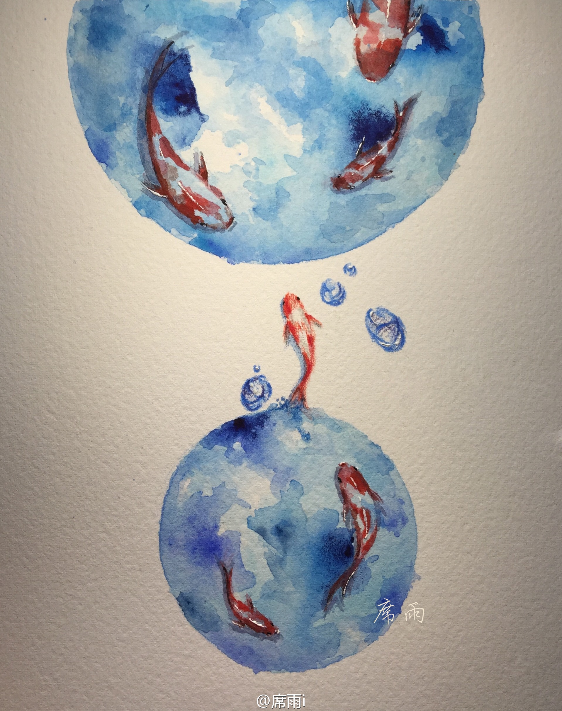 手绘水彩·鱼