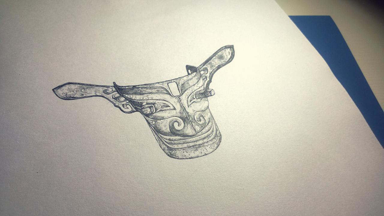 简单硬笔画《青铜.脑.手》
