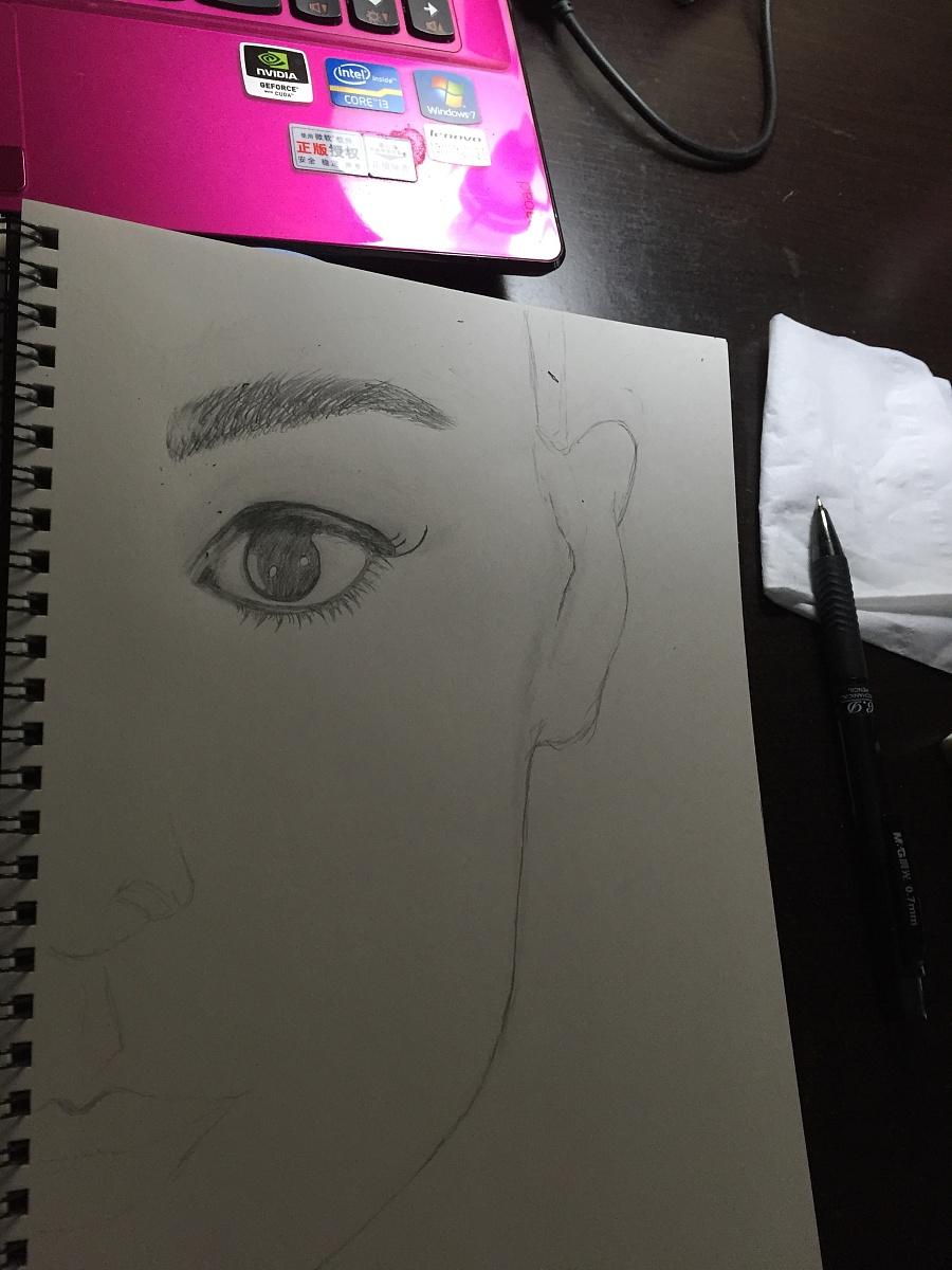 大眼睛美女手绘|素描|纯艺术|雪碧莹莹 - 原创设计