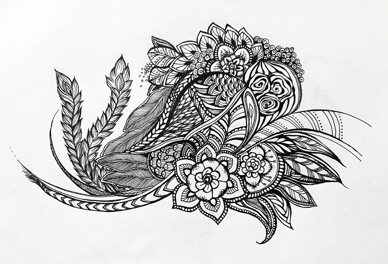 黑白简笔手绘壁纸