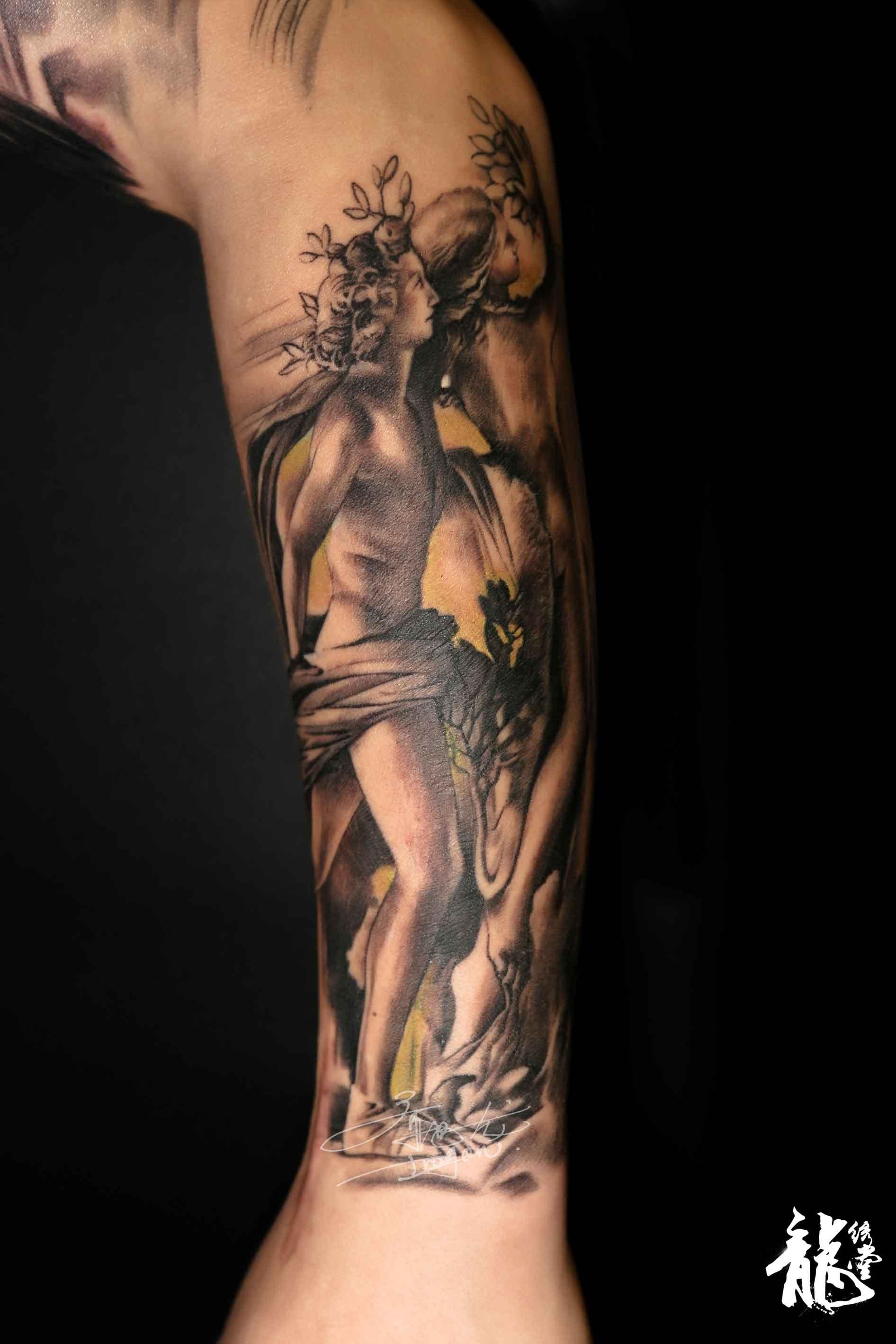 小臂创意亚当夏娃欧美纹身|手工艺|手办/原型|龙绣堂