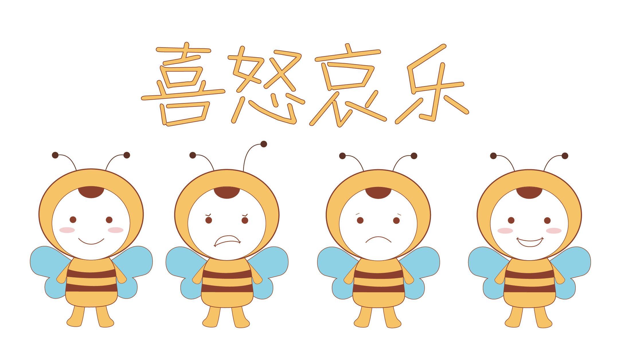 小表情檄卡通蜜蜂哀乐形象设计吉祥物v表情鸡年元宵节表情包图片