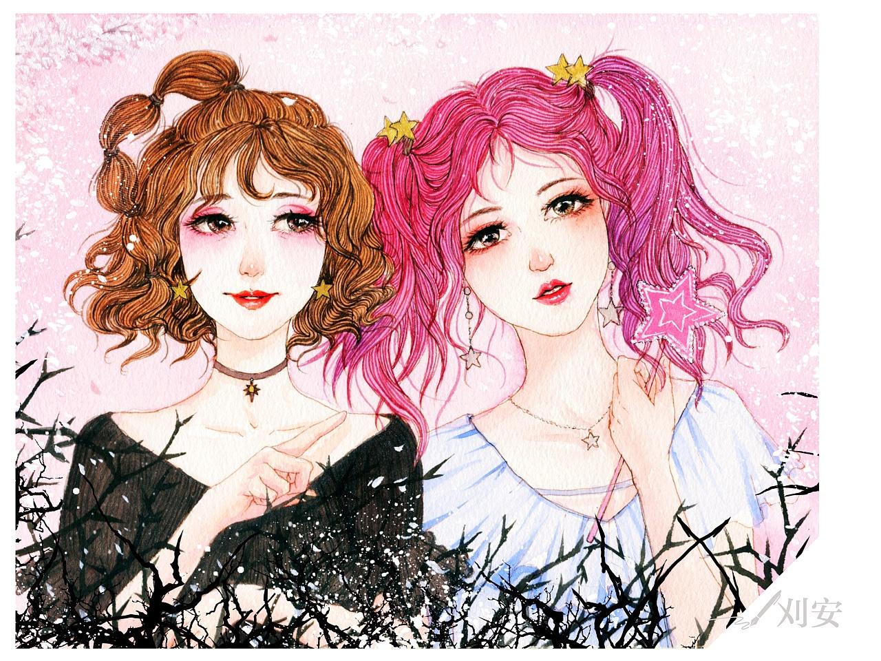 桃花气暖玉生香  水彩手绘 最近十分偏爱粉红色,很少女