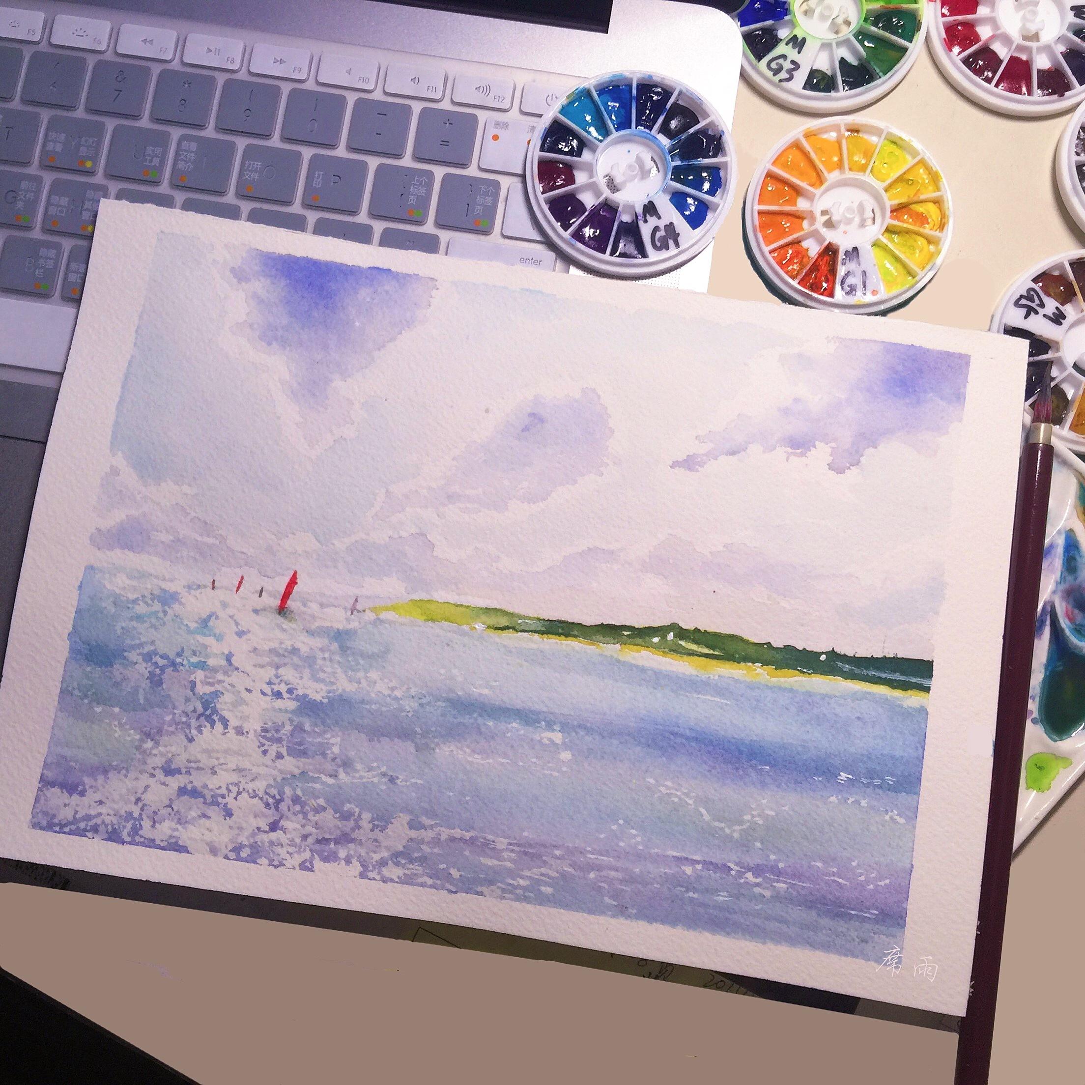 手绘水彩·海面