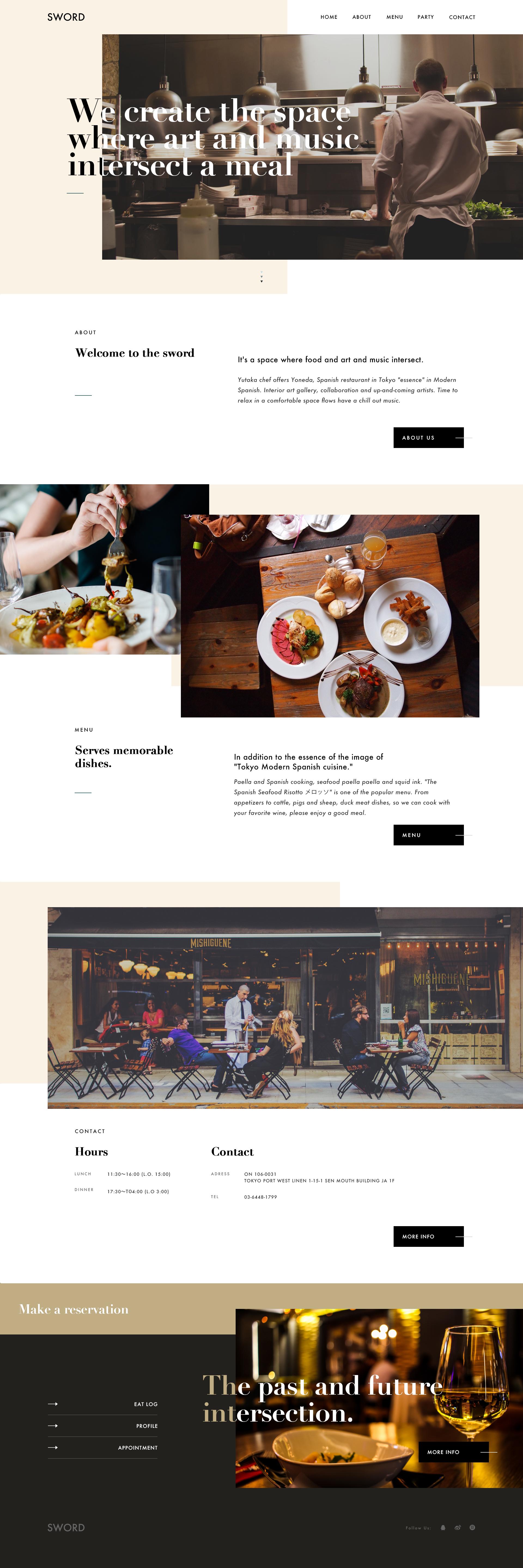 参考了国外一个餐厅的网页,初次通过分析网格系统对版面的设计元素与图片